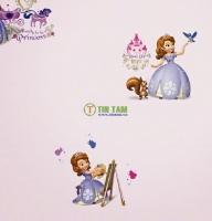 Mẫu giấy dán tường hình công chúa trong phim hoạt hình cho phòng bé.
